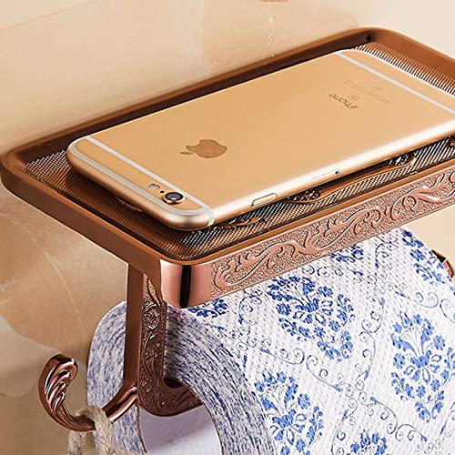 ThinkTop Antique Carving Toilet Roll Paper Holder with Phone Shelf Wall Mounted Bathroom Paper Rack and Hook-Rose Gold by ThinkTop (Image #8)