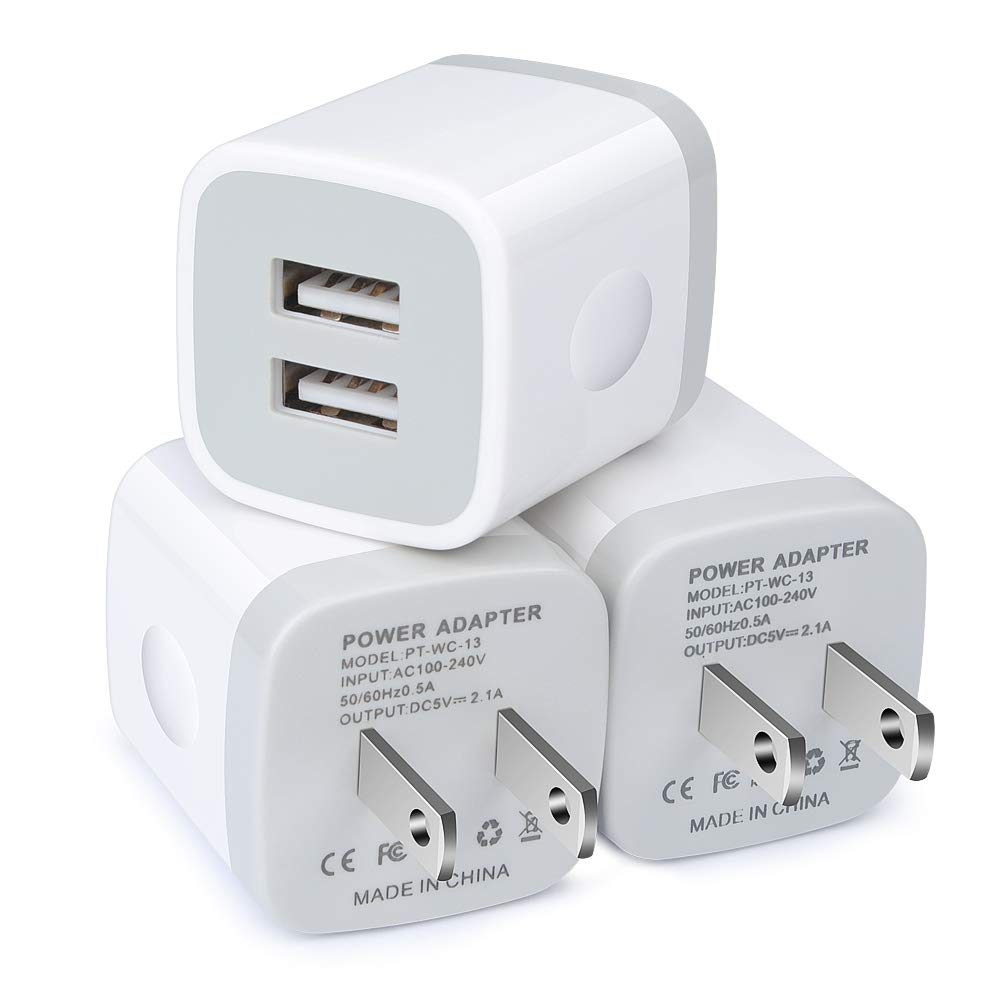 USB Wall Charger, iHoto 3-Pack Dual Port Charger Box 2.1A Wall Charger Brick Base Charging Block Cube for iPhone Xs Max/X/Xs/XR/8, Samsung ...
