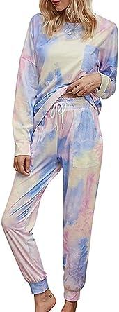 SUNNYME Womens Tie Dye Printed Long Pyjama Sets Long Sleeve Tops and Joggers Pants Nightwear Loungewear Sets