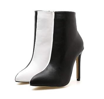 Botines Mujeres 10.5 Cm Tacón De Aguja Punta De Los Pies Vestido Botin Negro Blanco Color Partido OL Corte Zapatos UE Tamaño 35-40: Amazon.es: Deportes y ...