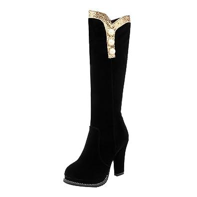 UH Damen High Heels Overknee Stiefel Langschaftstiefel mit