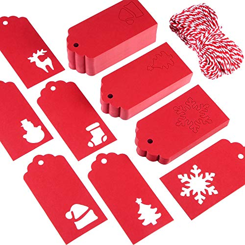 Sumind 150 Pieces Christmas Paper Gift Tags Kraft Paper Tags Hollow Xmas Hang Labels Wrapping Label in 6 Styles Patterns with 164 Feet Twine (Red)