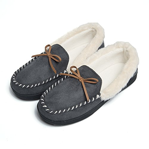 FOOTTECH Women Moccasins Slippers Faux Fur Lined Suede and Memory Foam, Breathable Indoor Outdoor Comfy Shoes Grey
