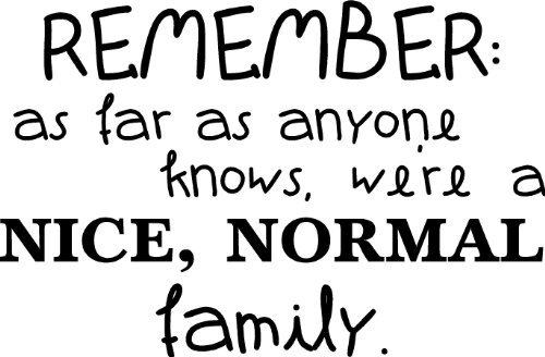 Remember As Far As Anyone Knows, We're A Nice, Normal Family wall saying vinyl lettering art decal quote sticker home decal