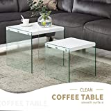 Wood and Glass Coffee Table Sets Mecor Nesting Table Set of 2 Glass Side End Coffee Table Wood Top Living Room Furniture White