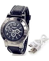 Valentinstag Geschenk Männer LANCARDO Neuheit Digital USB Zigarettenanzünder Herren Uhren mit 3Zifferblätter zur, winddicht Flame Feuerzeug
