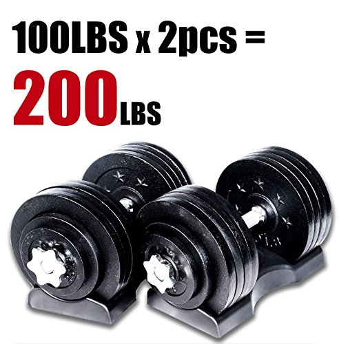 Starring 105 - 200 Lbs adjustable dumbbells (200 LBS Black with Trays)