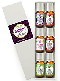 Natural Femininity Set 100% Pure, Best Therapeutic Grade Essential Oil Kit - 6/10mL (French Lavender, Love Blend, Peru Balsam, PMS Relief Blend, Rosemary, and Sage)