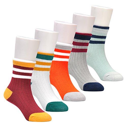 Epeius Kids Little Boys' Stripes Pattern Cotton Short Crew Socks for 5-7 Years 5 Pair Pack,US Shoe Size (Kids Stripe Pattern)