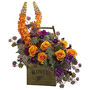 Nearly Natural 1713 Roses, Fox Tail and Morning Glory Artificial Silk Arrangements Orange/Purple 2
