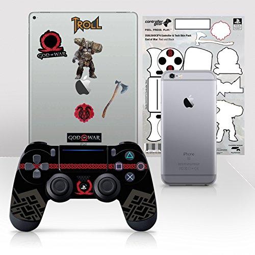 Controller Gear Licencia oficial de God of War Dualshock 4 Wireless Controller y Tech Skin Set Red and Black - PlayStation 4