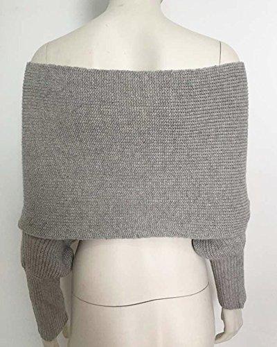Mujer Camisetas Ocasionales del Puente del Suéter Hecho Punto Flojo de Manga Larga Cruzada del V-Cuello Gris S/M Gris