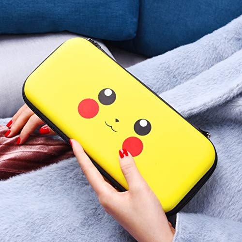 oqpa for Nintendo Switch Case Cute Kawaii Cartoon Design Cover, Fun Funny Anime Cool Switch Game Shell for Girls Boys Women Carrying Bag+Joystick Thumb Grip Caps+Tempered Glass Cases for Switch (Pika)