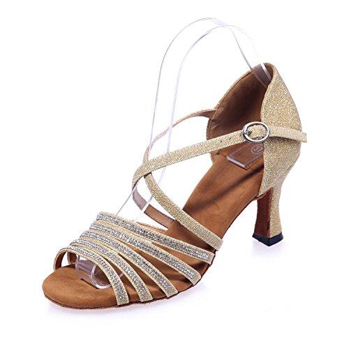 de de altos fino grandes para mujer 5 Zapatos Sala 7 con de seda oro YC baile Yardas latina L Flash Tacones Sandalias EP4AWqRAg