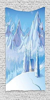 Cotton Microfiber Bathroom Towels Ultra Soft Hotel SPA Beach Pool Bath Towel Winterations Little House below Majestic Mountains in Winter Ice Blizzard Frozen Back Blue