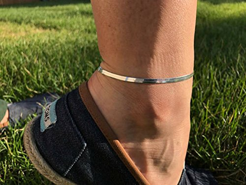 Kyperco Sterling Silver Adjustable Handmade Bracelet With Herring Bone Design Anklet For Women ()