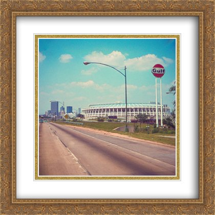 Stadium Atlanta Fulton (Atlanta-Fulton County Stadium 2X Matted 28x28 Large Gold Ornate Framed Art Print from The Stadium Series)