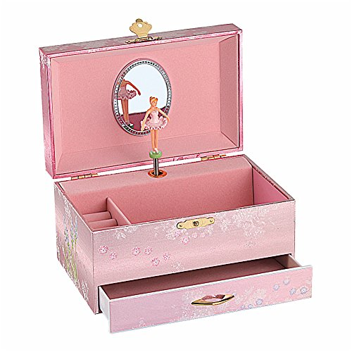 Musical Jewelry box, Flower Fairy jewel box, Storage Box with drawer. lacquer, foil and pearlized surface.Turn name is 'Home sweet home'. (7.1'x 4.5'x 4' gold)
