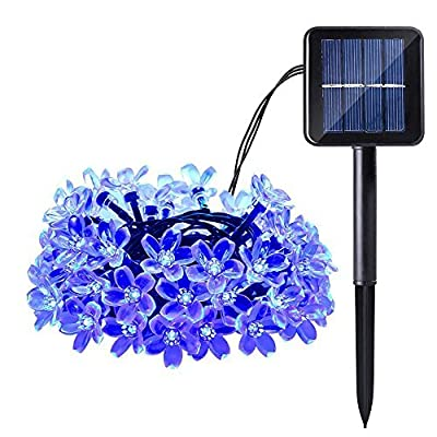 Qedertek Cherry Blossom Solar String Lights, 22ft 50 LED Waterproof Christmas Decorative Lighting for Indoor/Outdoor,Patio,Lawn,Garden,Christmas, and Holiday Festivals Decorations (Blue)