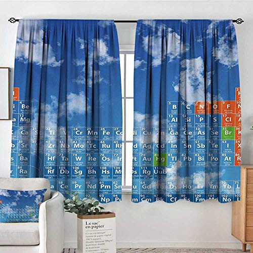 - Mozenou Science Patterned Drape for Glass Door Clear Open Sky with Clouds and Chemistry Table for Kids Smart Student Print Blackout Draperies for Bedroom 72