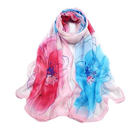 Primavera para Grabados bufanda 18 elegante 5 Bufanda Fresco 20 Moda de mujer Todo Colores Multicolor seda Largos qwBCOH