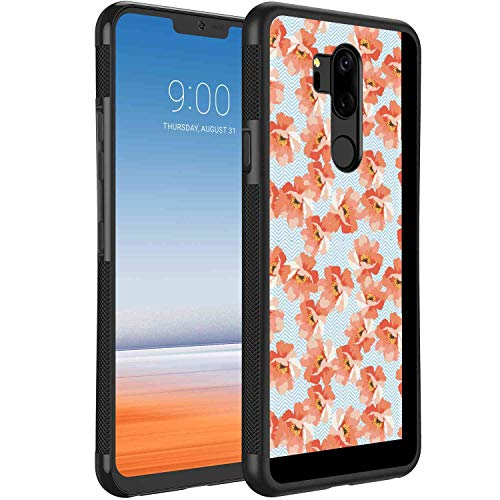 LG G7 ThinQ Case TPU+PC (2018) (6.1in) Coral Soft Pastel Poppy Flowers on Chevron Zigzag Backdrop Romantic Feminine Coral Pale Blue Yellow