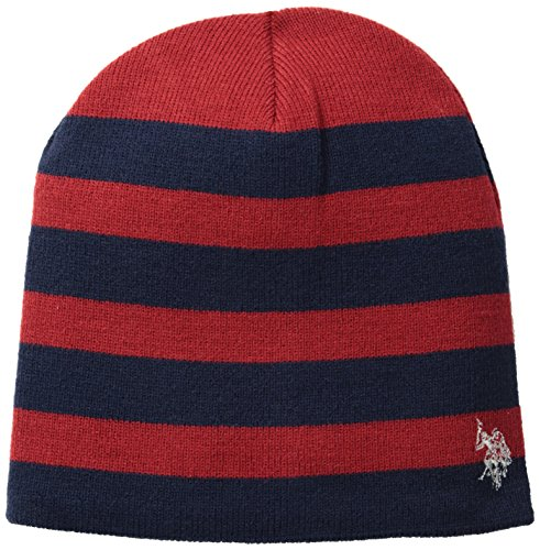 U.S. Polo Assn. Men's Striped Reversible Beanie, Navy, One (Navy Striped Polo)