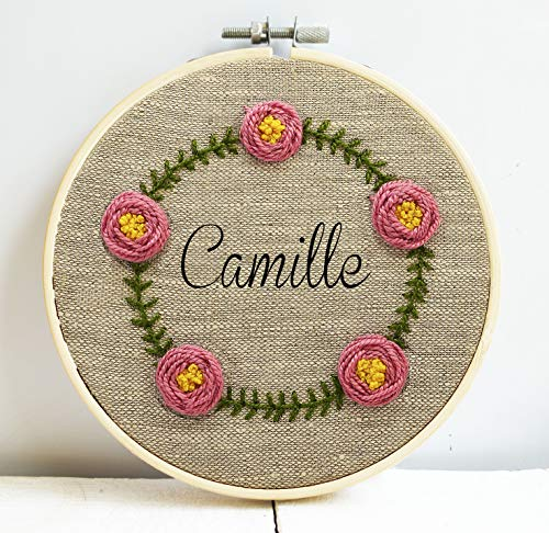 Embroidery Hoop Hand Art - Custom name embroidery hoop art Wildflowers wreath hand embroidered Flower framed wall room decor Personalized nursery gift Floral Funny