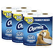 Charmin Ultra Soft Cushiony Touch Toilet Paper, 18 Family Mega Rolls = 90 Regular Rolls (Packaging May Vary)