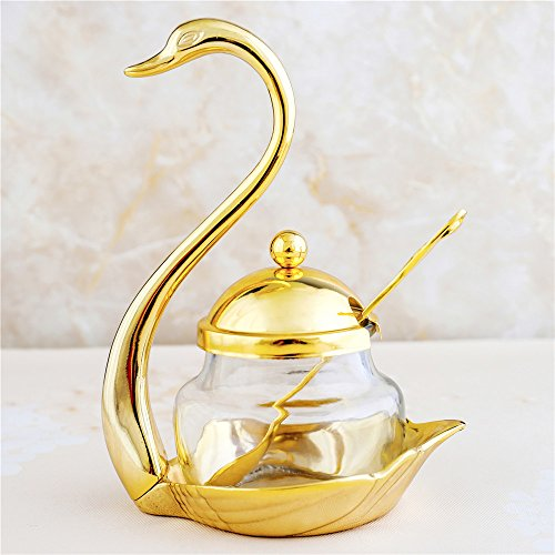 Glass Liner Condiment Pots with Lids and Spoons, XINFANGXIU Seasoning Container Canister Spice Jar Sugar Bowl Cup with Golden Metal Holders for Berry Jam Syrup Cream Spice - Swan Salt