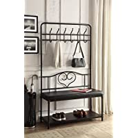 Black Metal and Bonded Leather Entryway Shoe Bench with Coat Rack Hall Tree Storage Organizer 12 Hooks - 40 Wide Bench