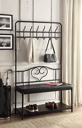 Black Metal and Bonded Leather Entryway Shoe Bench with Coat Rack Hall Tree Storage Organizer 12 Hooks - 40'' Wide Bench