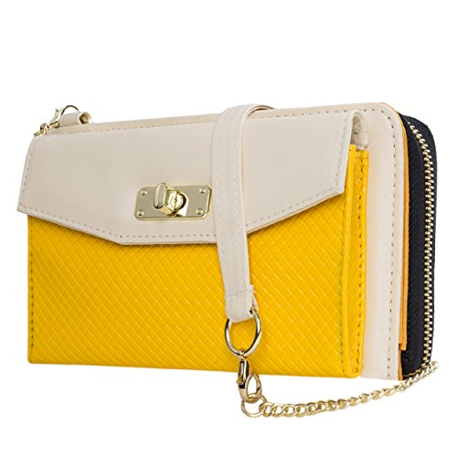 Envelope Clutch Cream/Yellow for HTC Phones by Vangoddy (Image #8)