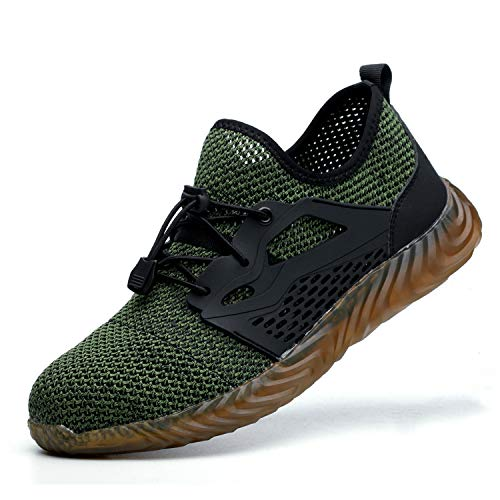 JACKSHIBO Work Indestructible Shoes for Women Men Mesh Breathable Lightweight Safety Industrial Construction Steel Toe Shoes 825 Green 8-8.5 M US Women / 6.5-7 M US Men ()