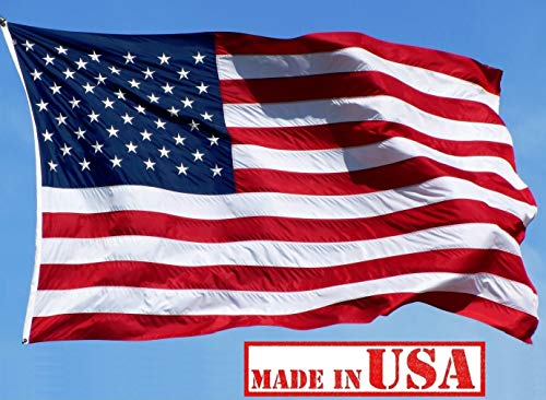(US Flag Factory - 5'x8' US American Flag (Embroidered Stars, Sewn Stripes) Outdoor SolarMax Nylon Flag - Made in America - Premium Quality (5x8 FT))