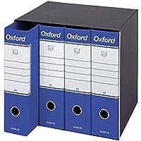 Esselte Gruppo da 4 Raccoglitori Oxford con meccanismo a leva e con custodia, Formato Protocollo, Cartone, Dorso 8 cm, Blu, 390789050, 4 Pezzi