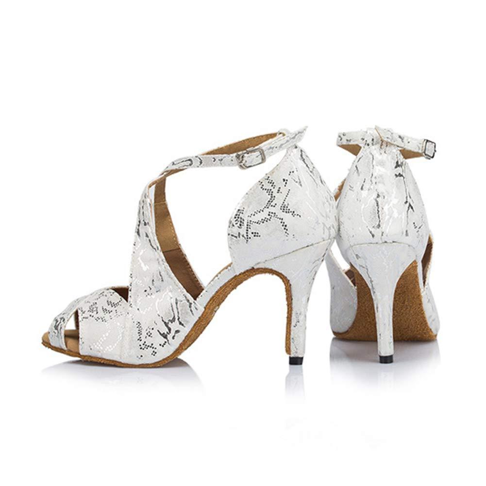 WHL.LL Damen Gemütlich Weicher Boden Moderne Moderne Moderne Tanzschuhe Low-Heels Knöchel Schnalle Abendkleid Tanzschuhe Wildleder Drucken Lateinische Tanzschuhe 587323