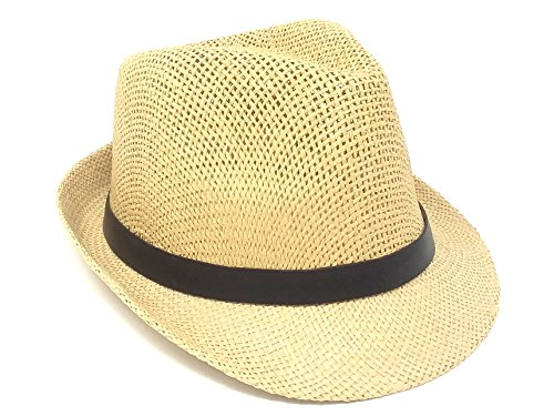 40 Straw Fedoras with Leather Buckled Black Band Lightweight Classic Hat Assorted Colors Wholesale Bulk Lot