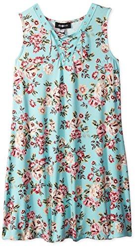 Amy Byer Big Girls' Sleeveless Sneaker Dress, Sage/Plum Prancing Posie Garden, L