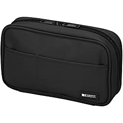 LIHIT LAB Pen Case, Jet Black, 4.7 x 7.9 inches (A7551-124)