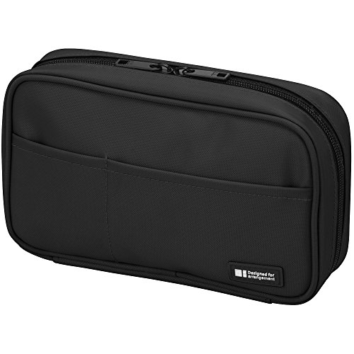 LIHIT LAB Pen Case, 7.9 x 2 x 4.7 inches, Jet Black