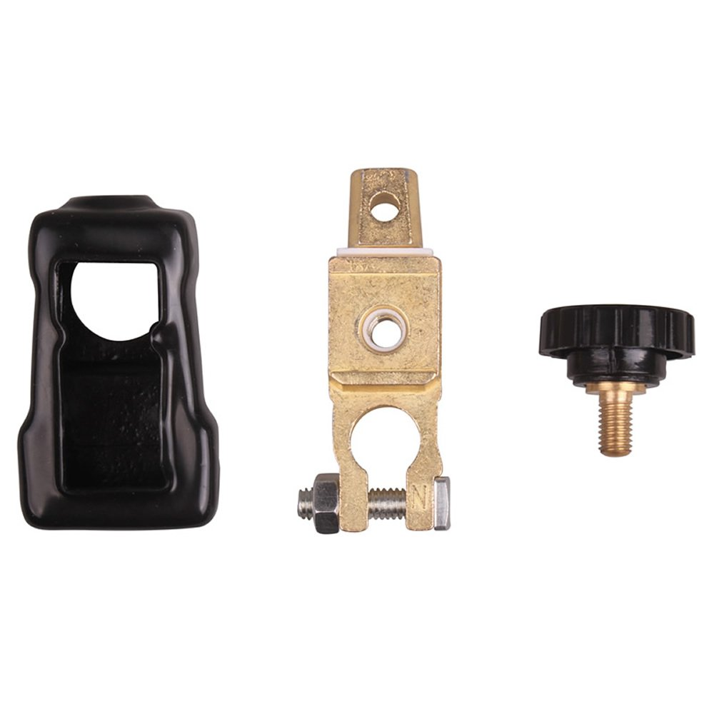 Universal Battery Quick Disconnect Switch Top Mount Knob Cut Off Master Kill Terminal Adapter DC 12V 24V 15 16 17mm Diameter with Negative Clamp Clip Terminal and Lug Plate Heatproof PVC Cover for Auto Motor Car Vehicle Truck Boat HitCar