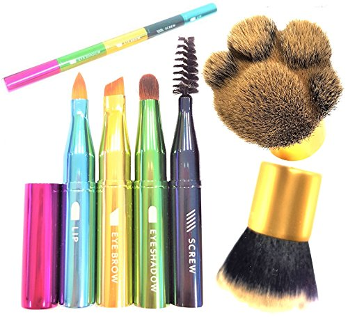 4-in-1 travel compact size cute makeup brush for eyebrow eyeshadow eyeliner and lips on one handle + Kabuki make up brush for loose powder liquid foundation bronzer blush by Dinnx (set of 2)
