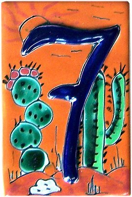 - Fine Crafts Imports Desert Talavera Ceramic House Number Seven