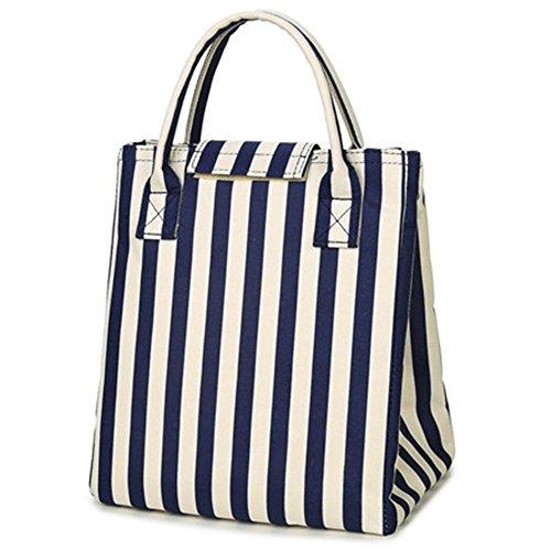 Moosoo Reusable Thermal Foldable Lunch Tote Bag Cooler Bag Insulated Lunch Box Picnic Bag School Cooler Bag for Men Women Ladies Girls Children Kids Student (Blue Stripe)