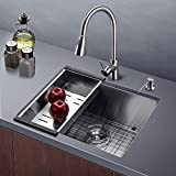 Corner Kitchen Sinks Harrahs 23 Inch Kitchen Sink 11-gauge Lips Stainless Steel Single Bar Bowl Easy Drain with Solid Bottom Grid, Vegetable Basket, Soap Dispenser and Sink Strainer Undermount 23x18.3x10 Inch