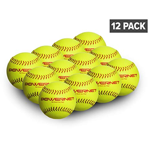 PowerNet Practice Softballs | 12 PK Recreation Grade Regulation Size Balls | Perfect for Softball Soft Toss, Batting, Fielding, Hitting, Pitching, Practice or Training | Bright Yellow w/Red Seams