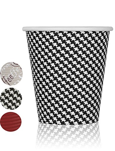 Quality Disposable Hot Coffee Insulated Cups By Golden Spoon – 50 Pack – Stylish Contemporary Ripple Design - Perfect For Coffee Shops And Bars (10 oz, Checkered Design)
