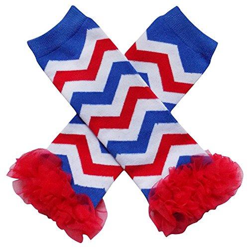 So Sydney Baby Toddler Girl Chevron Stripe Tutu Chiffon Ruffle Leg Warmers (Red White & (Wide Stripe Leg Warmers)