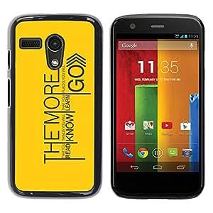 PC/Aluminum Funda Carcasa protectora para Motorola Moto G 1 1ST Gen I X1032 Read Know Learn Go / JUSTGO PHONE PROTECTOR